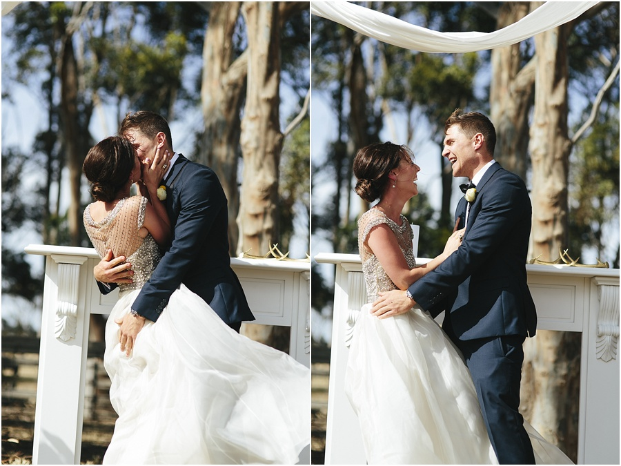 Greatest first kiss at Vintage Farm wedding